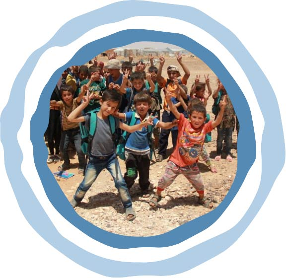 Group of refugee camp kids cheering