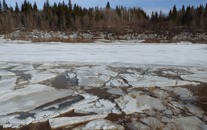 frozen lake ice breaking up